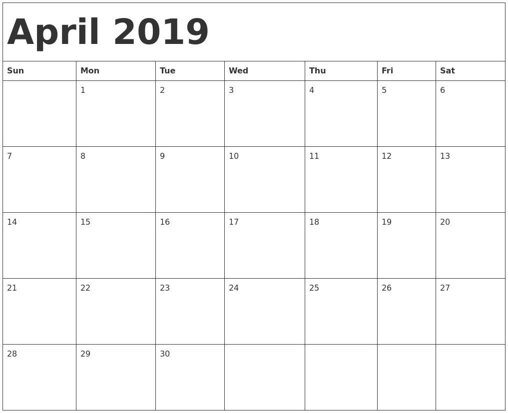 Printable April 2019 Calendar New Zealand | Printable April