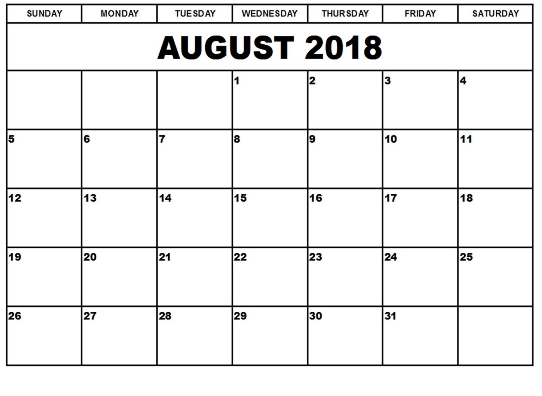 Printable August 2018 Blank Calendarday