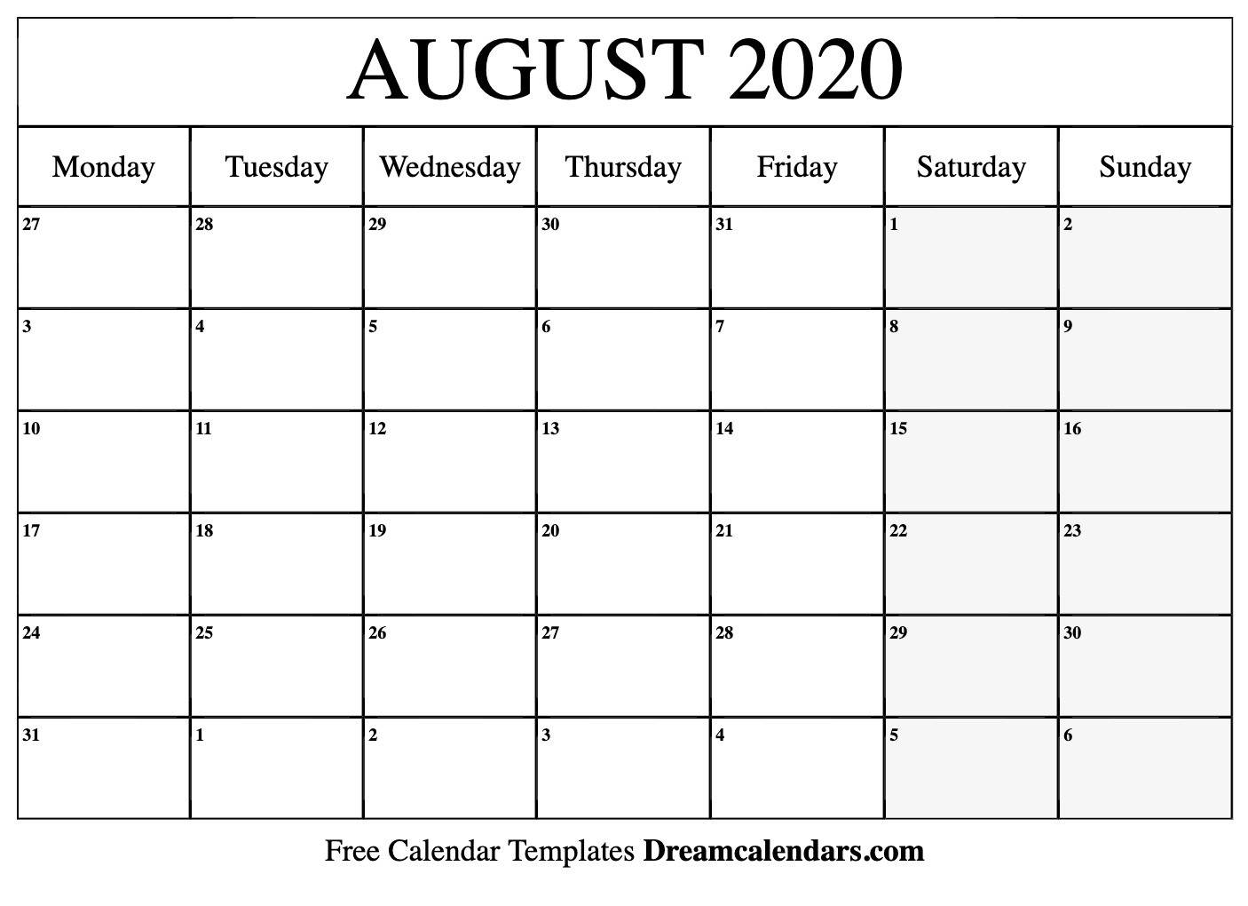 Printable August 2020 Calendar Templates - Helena Orstem