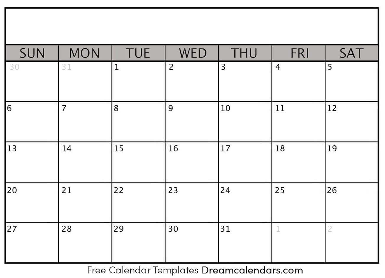 Printable Blank Calendar | Dream Calendars