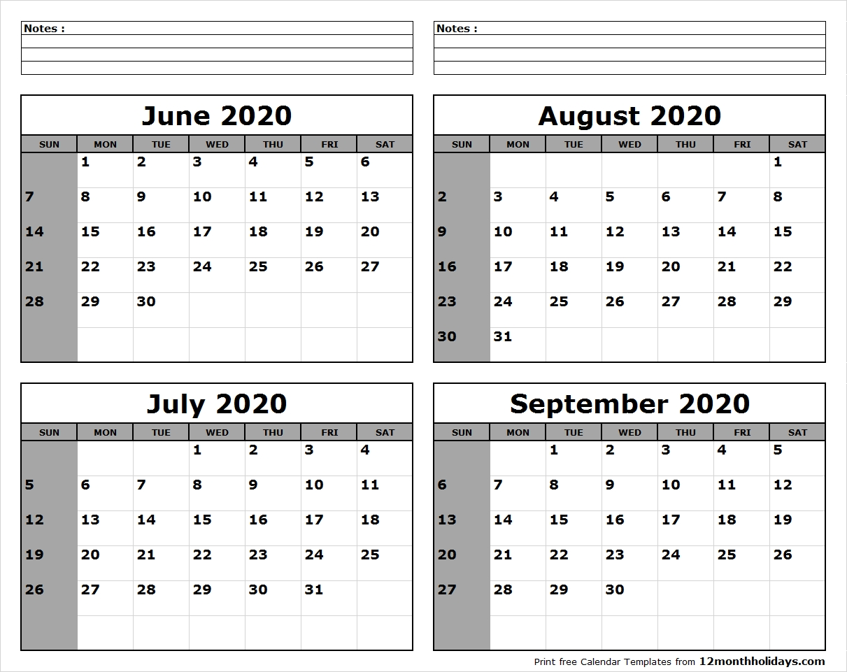 Printable Blank Four Month June July August September 2020