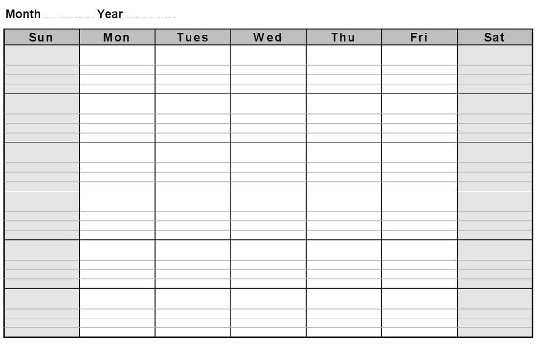 Printable Blank Monthly Calendar With Lines – Gallery Of