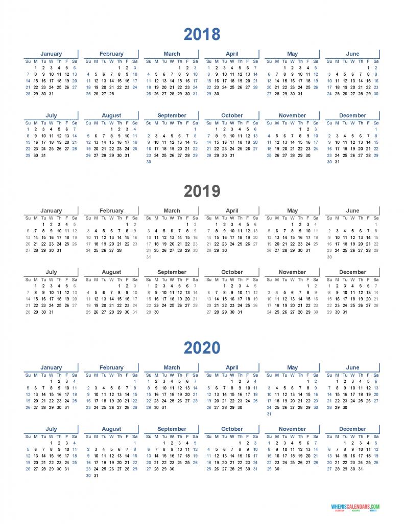 Printable Calendar 2018 2019 And 2020 3 Year Calendar