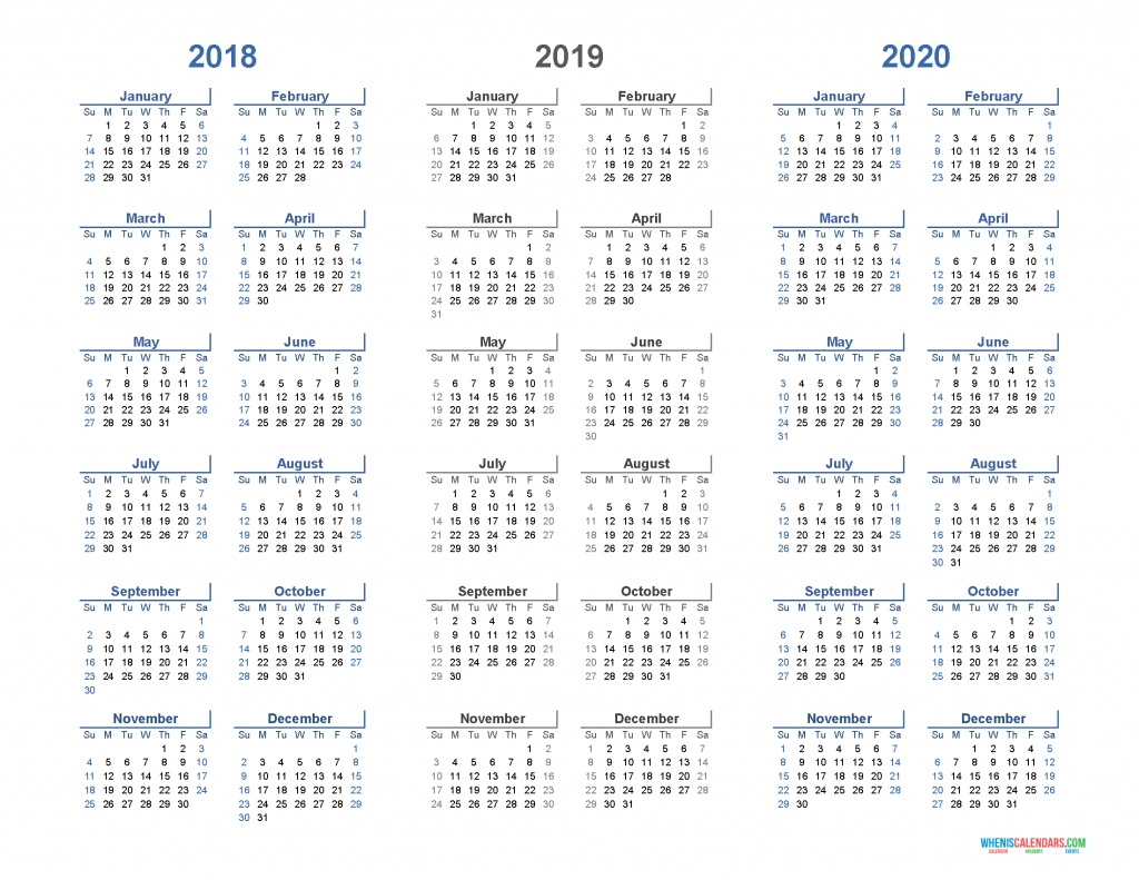 Printable Calendar 2018 2019 And 2020 3 Year Calendar (Light