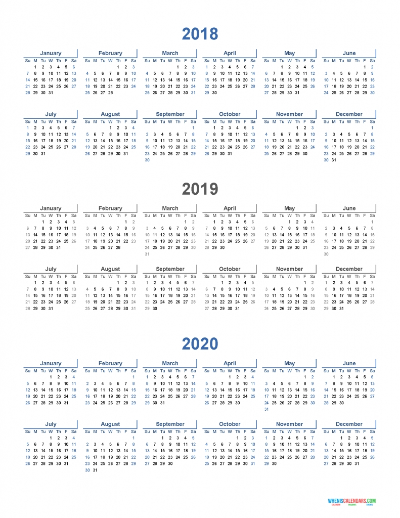Printable Calendar 2018 2019 And 2020 3 Year Calendar