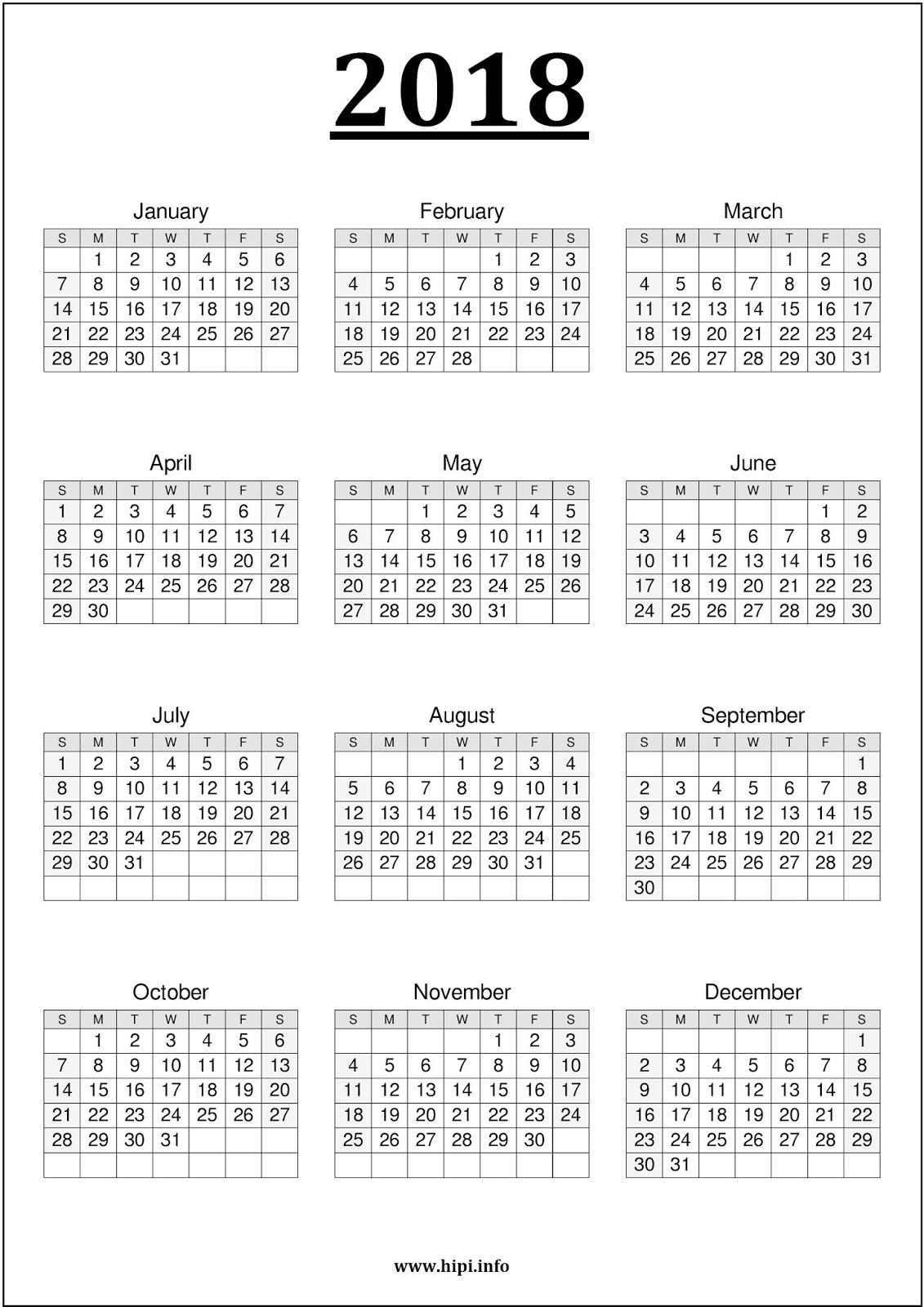 Printable Calendar 2018 All On One Page | Printable Calendar