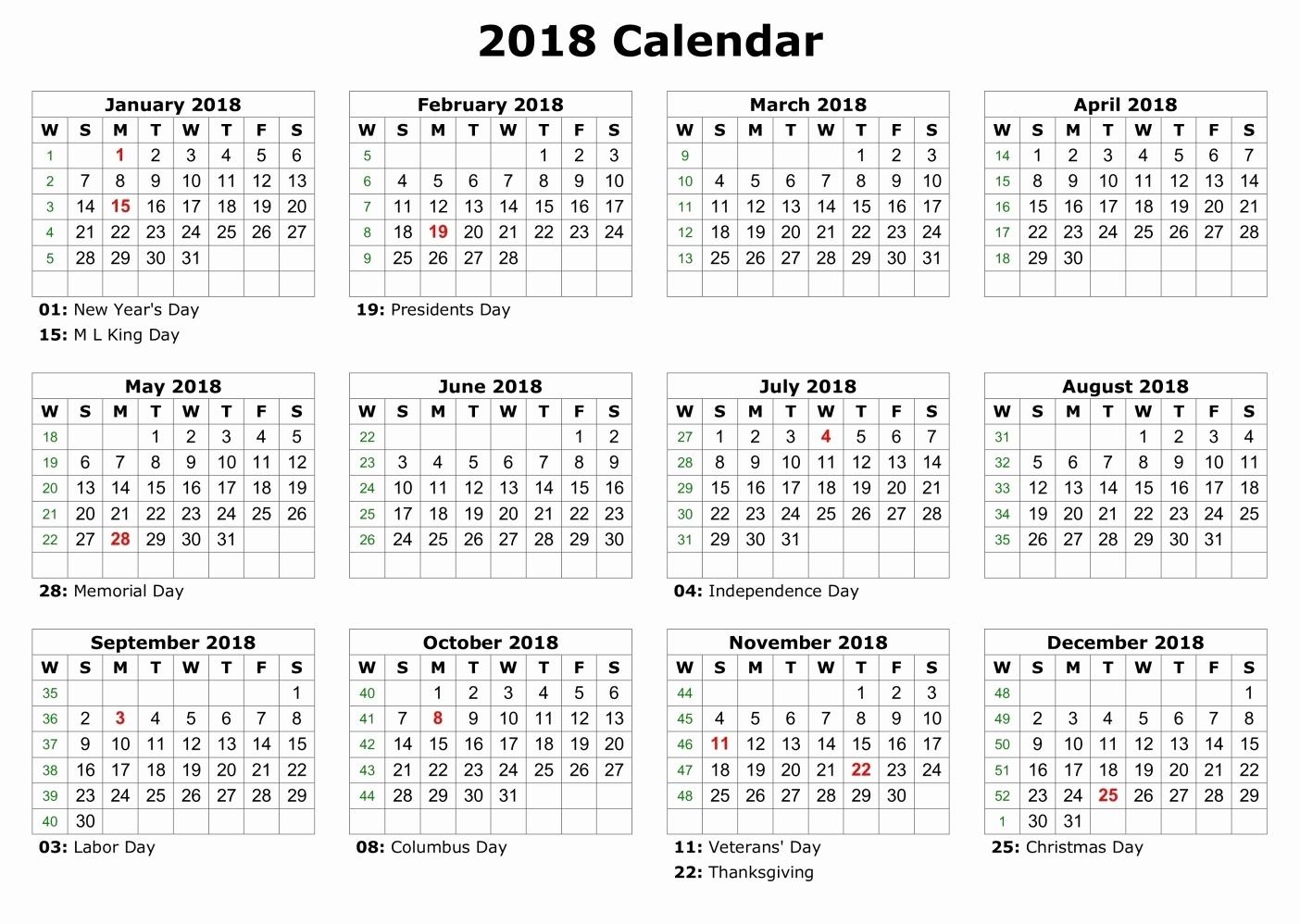 Printable Calendar 2018 Big Boxes | Printable Calendar 2019
