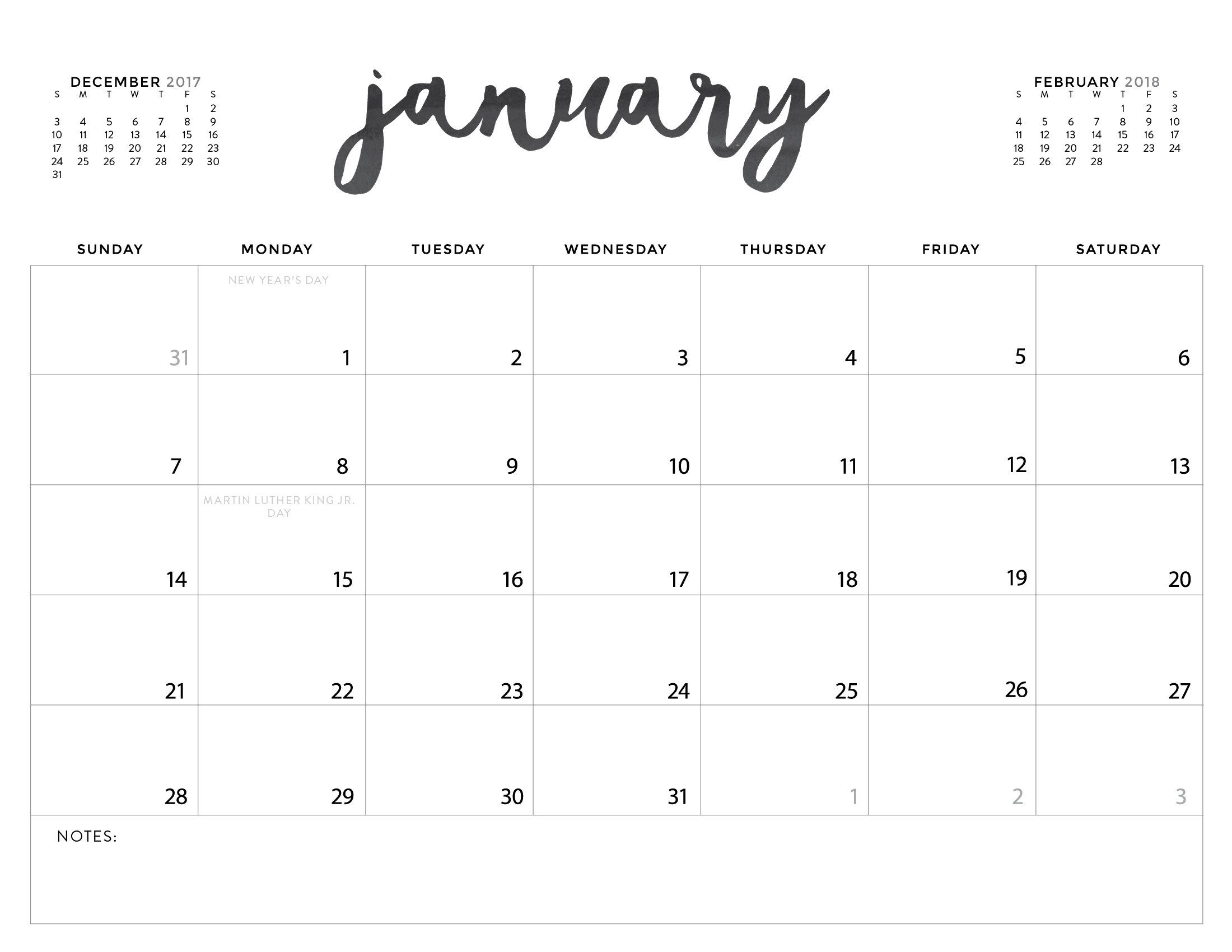 Printable Calendar 2018 Download | Printable Calendar 2020