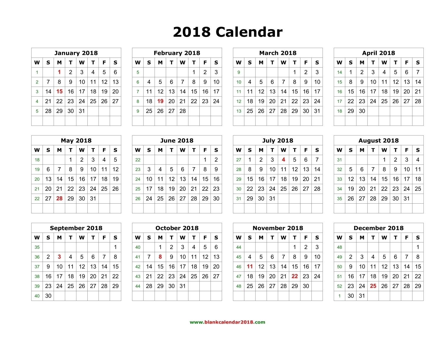 Printable Calendar 2018 Entire Year | Printable Calendar 2019