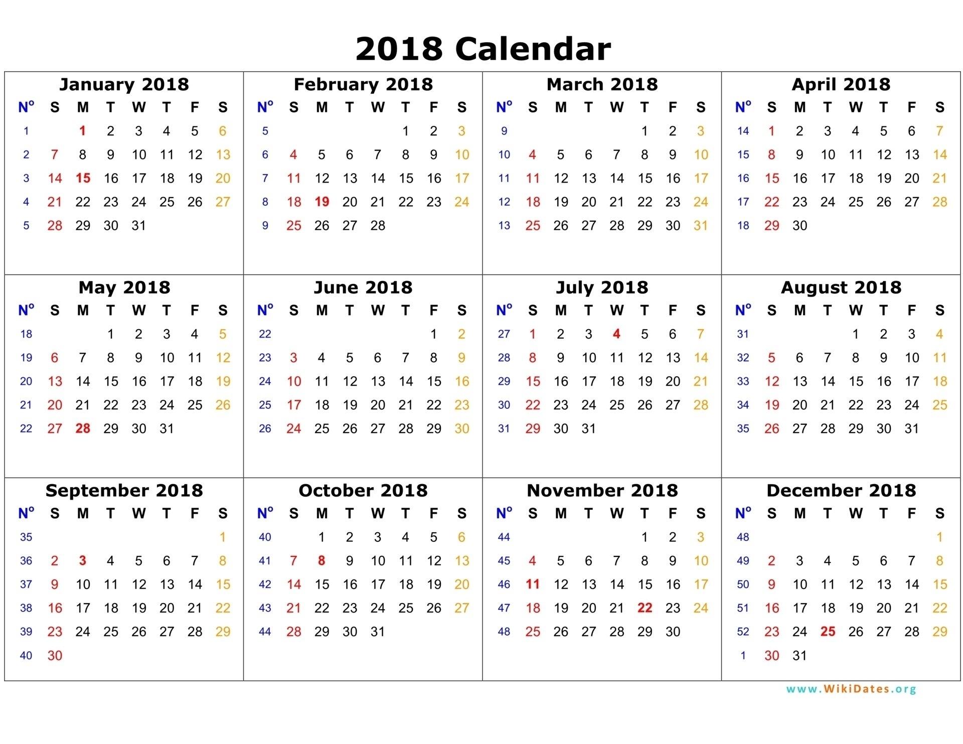 Printable Calendar 2018 - Free 2018 Blank Calendar Template