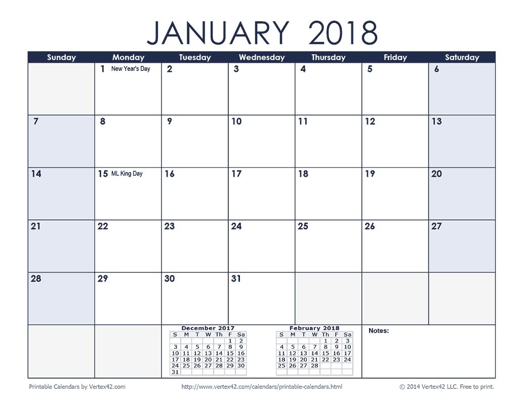 Printable Calendar 2018 Horizontal | Printable Calendar 2019