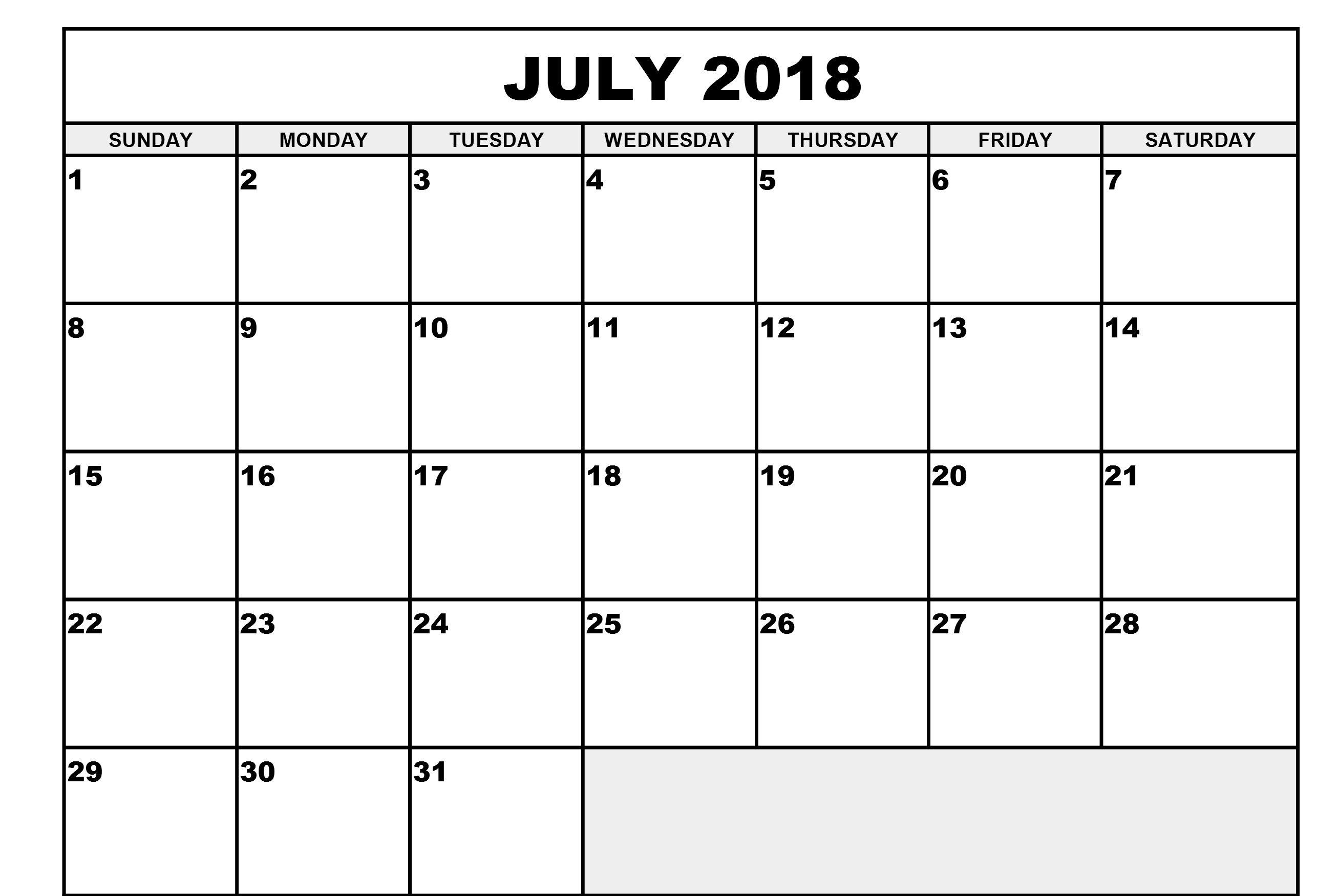 Printable Calendar 2018 July Waterproof | Printable Calendar
