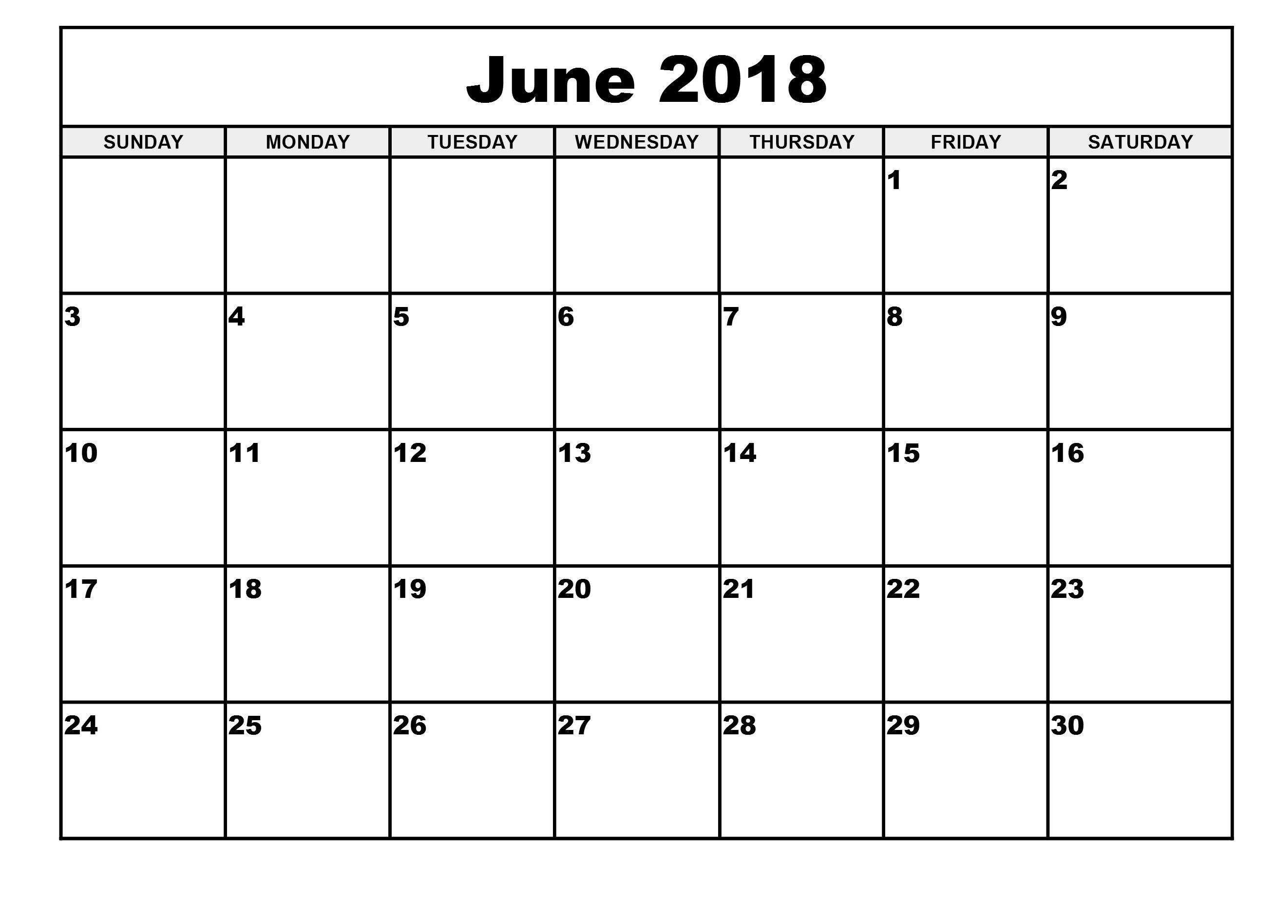 Printable Calendar 2018 June | Printable Calendar 2020