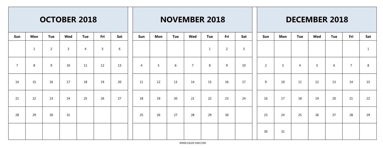 Printable Calendar 2018 November And December | Printable