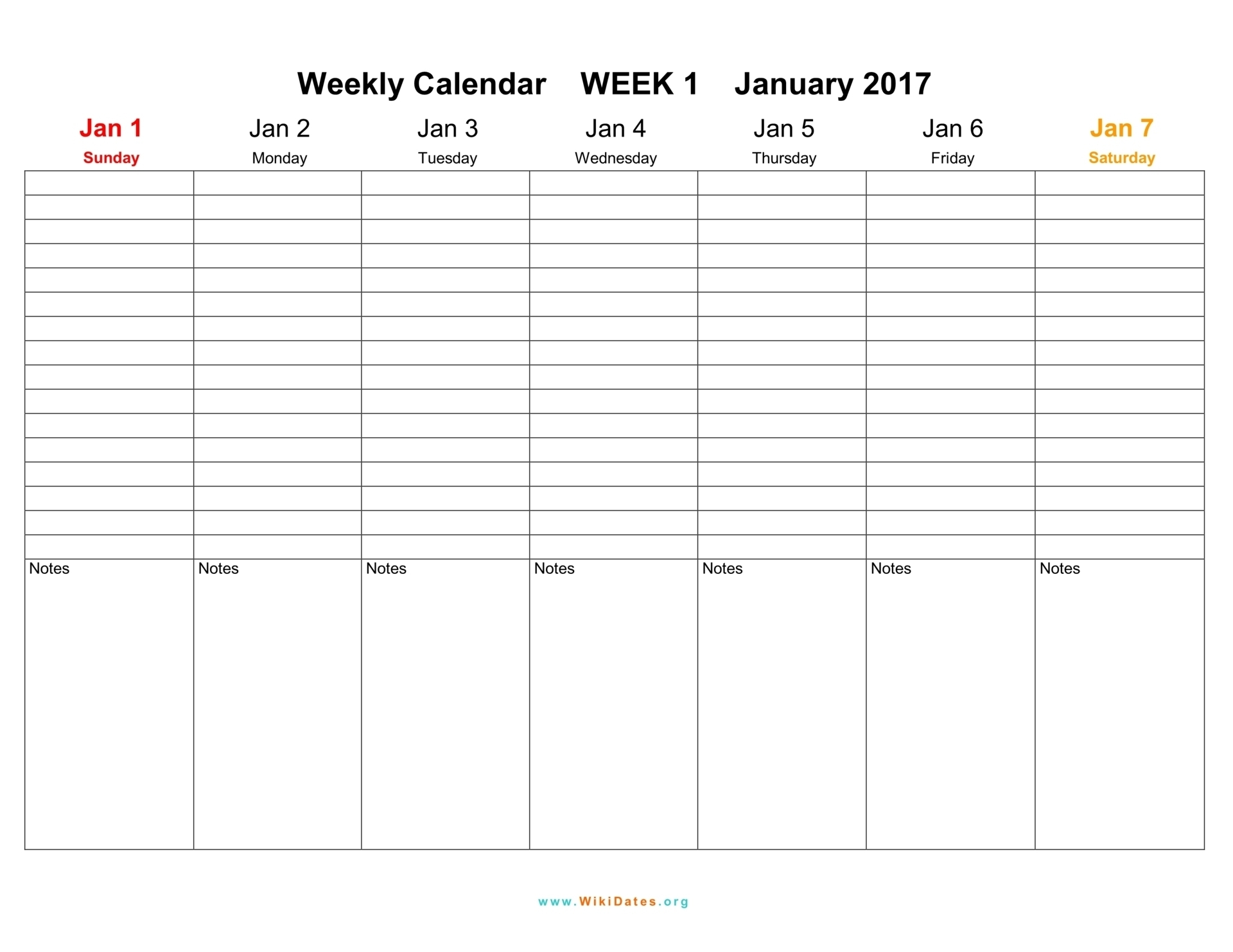 Printable Calendar 2018 One Week | Printable Calendar 2019