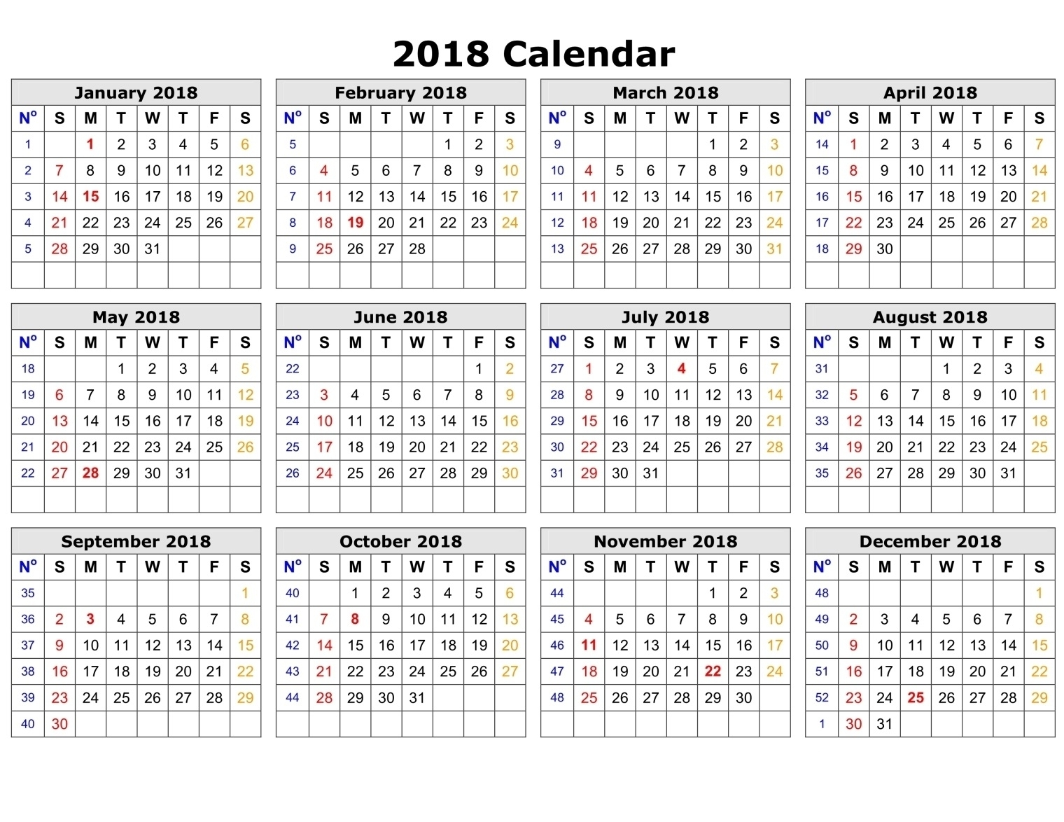 Printable Calendar 2018 Time And Date | Printable Calendar 2020