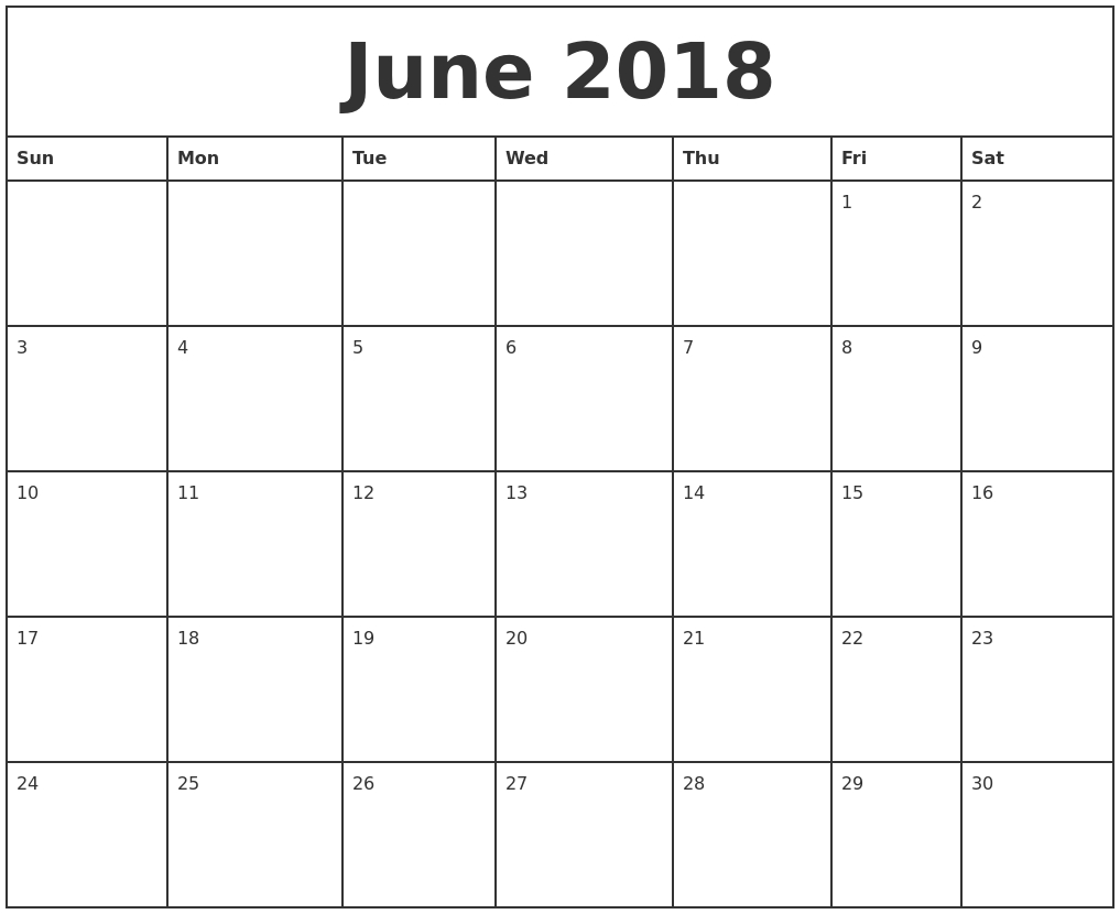 Printable Calendar 2018 To Write On | Printable Calendar 2019