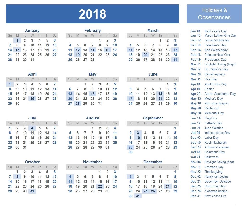 Printable Calendar 2018 With Government Holidays | Printable