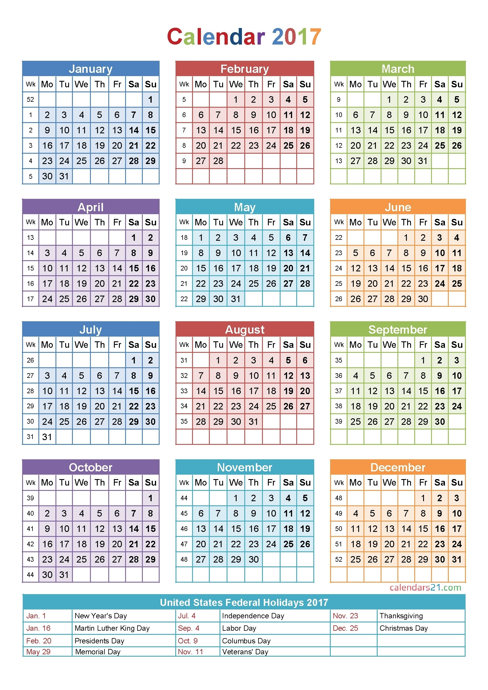 Printable Calendar 2018 With Week Numbers | Printable