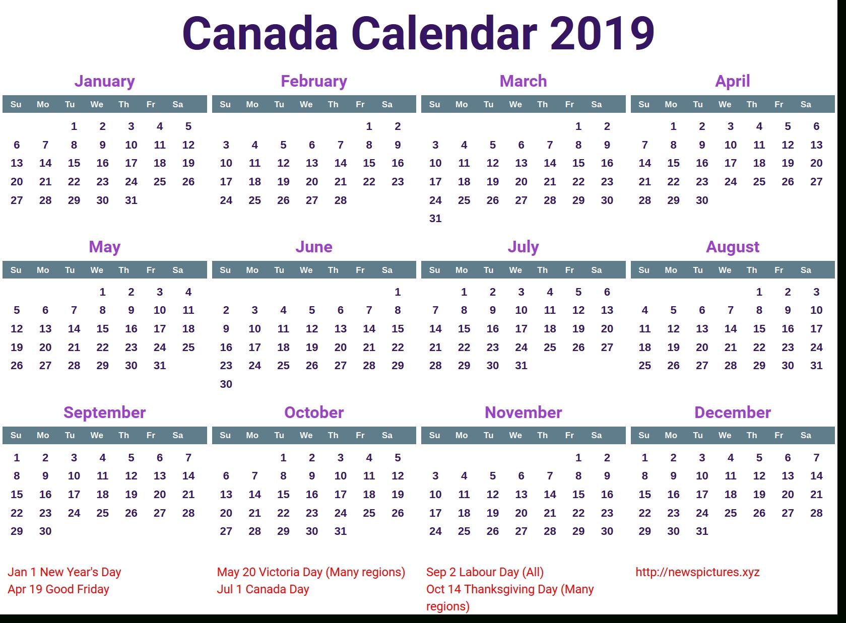 Printable Calendar 2019 Canada | Printable Calendar 2020