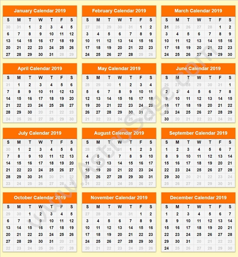 Printable Calendar 2019: Download Calendar For The Year 2019