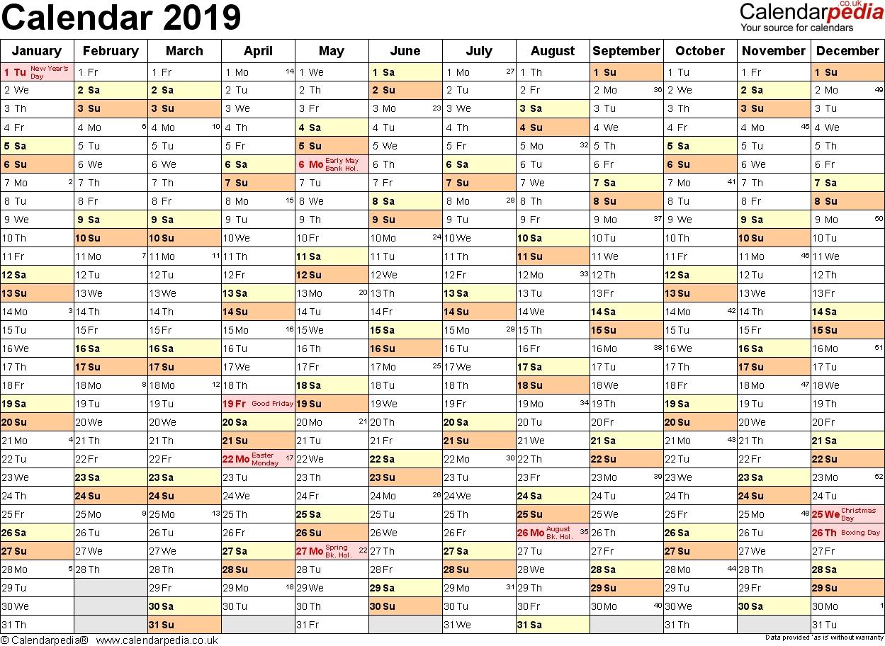 Printable Calendar 2019 Excel | Printable Calendar 2020