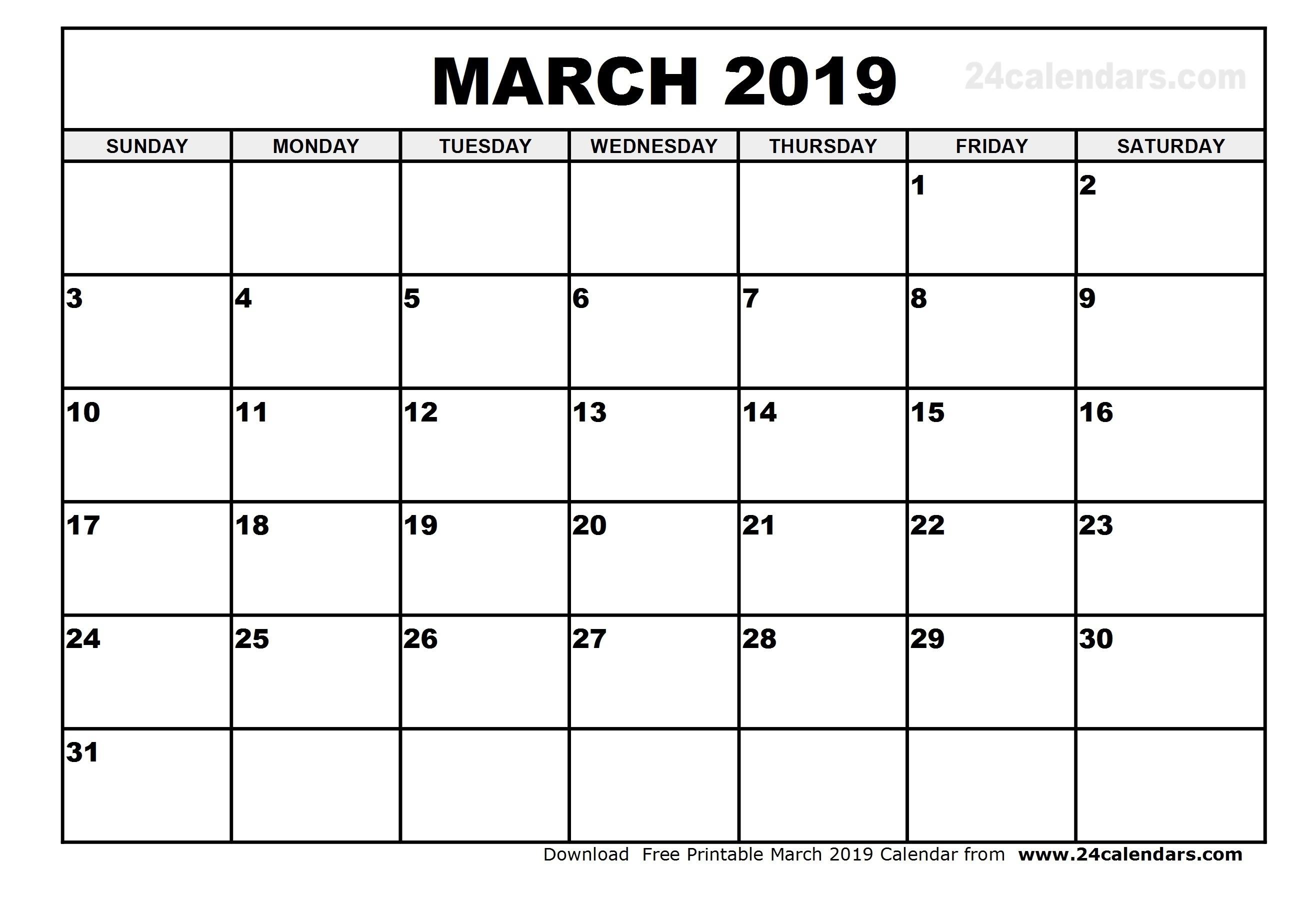 Printable Calendar 2019 March | Printable Calendar 2020