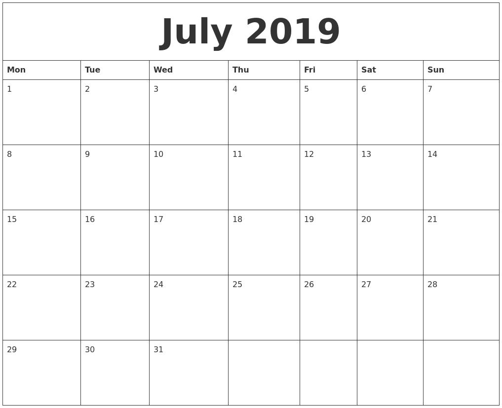 Printable Calendar 2019 Monday Start   Printable Calendar 2020
