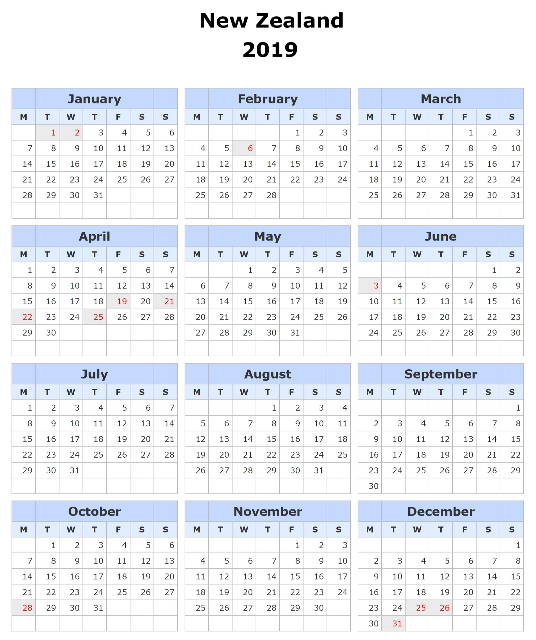 Printable Calendar 2019 Nz – Free Calendar Templates