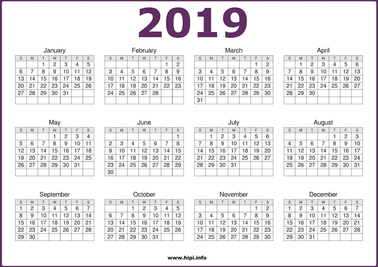 Printable Calendar 2019 One Page   Printable Calendar 2020