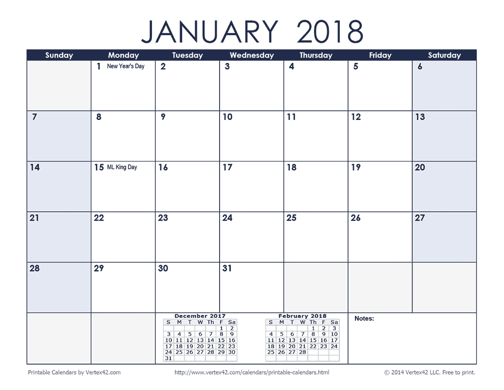 Printable Calendar 2019 Vertex42 | Printable Calendar 2020