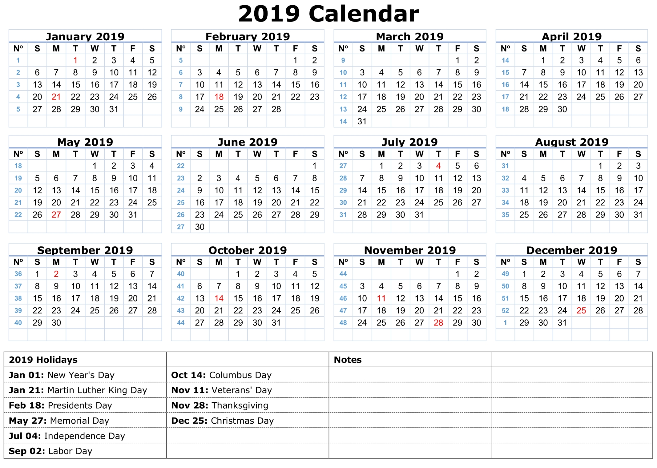 Printable Calendar 2019 With Holidays | Printable Calendar 2020