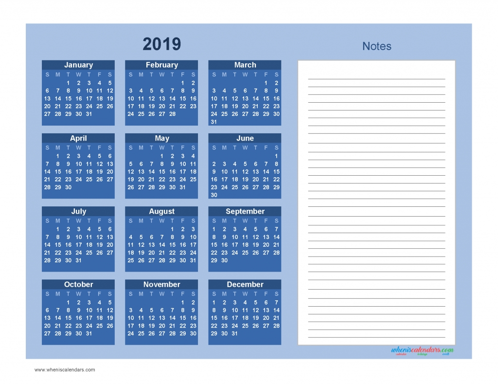 Printable Calendar 2019 With Notes Yearly Editor, Blue