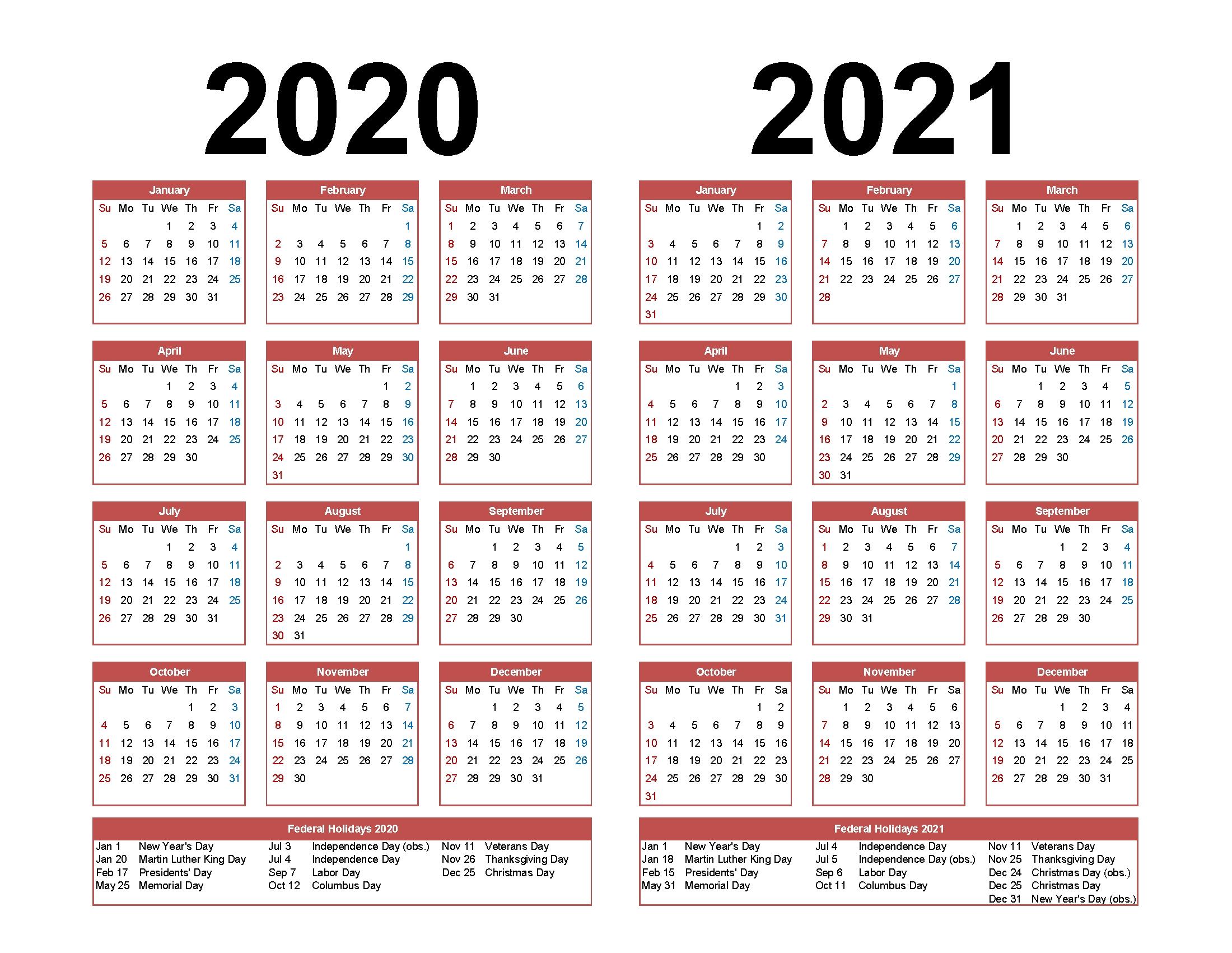 Printable Calendar 2020 2021 Two Year Per Page Free Pdf