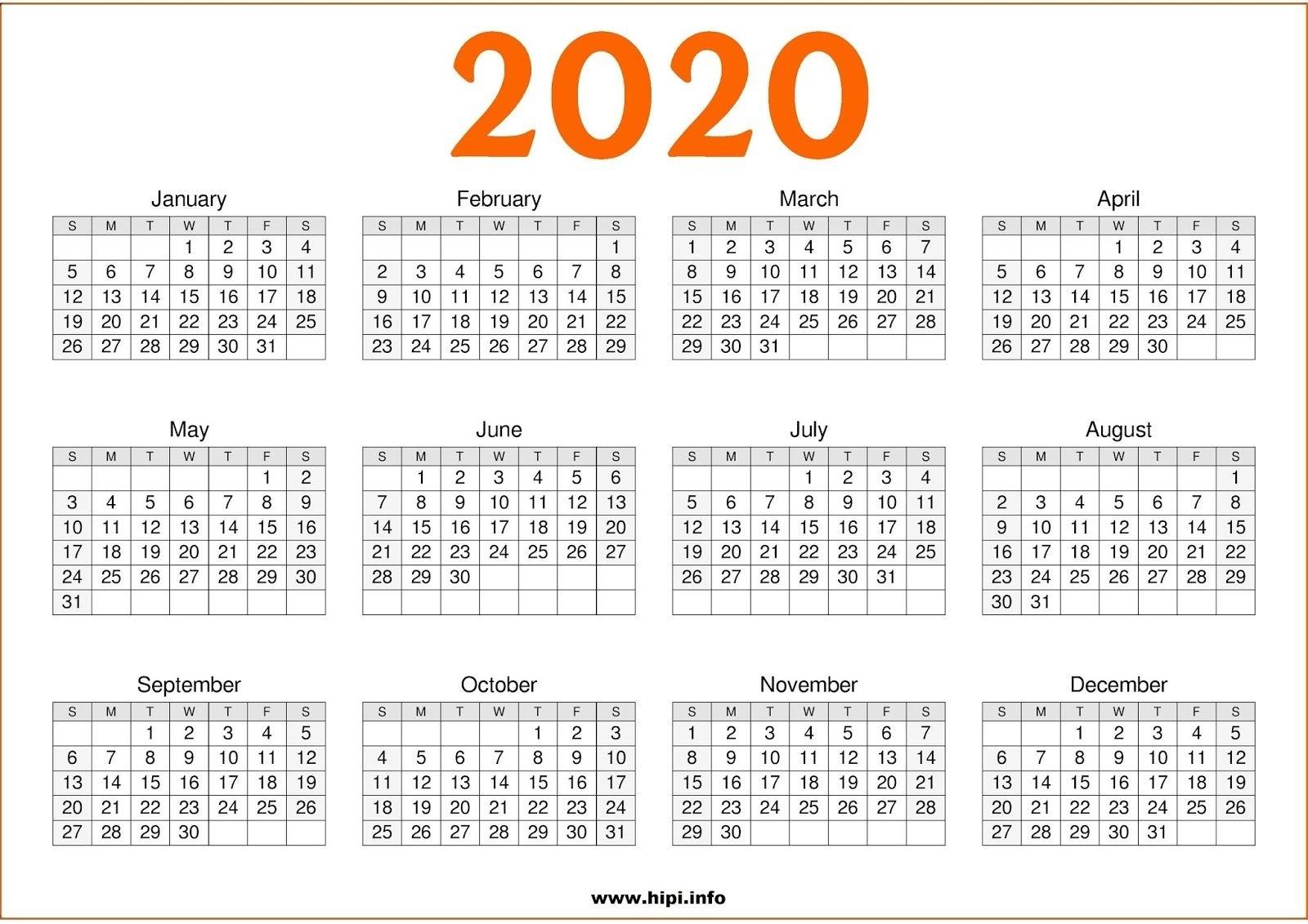 Printable Calendar 2020 One Page - Cerno.mioduchowski