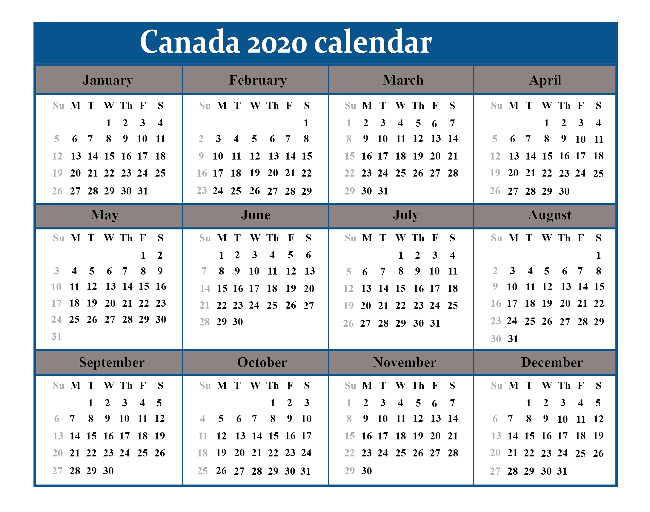 Printable Calendar 2020 With Canada Holidays | Best
