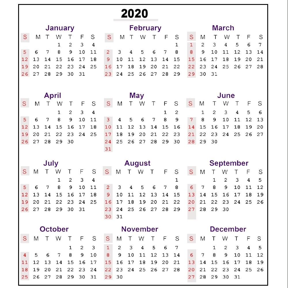 Printable Calendar 2020 With Week Numbers   Monthly