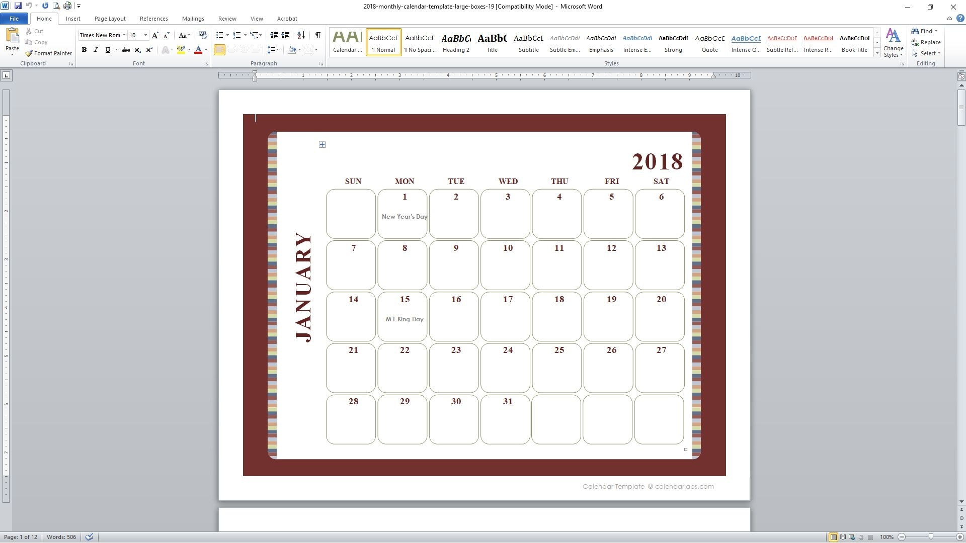Printable Calendar Calendar Labs | Printable Calendar 2020