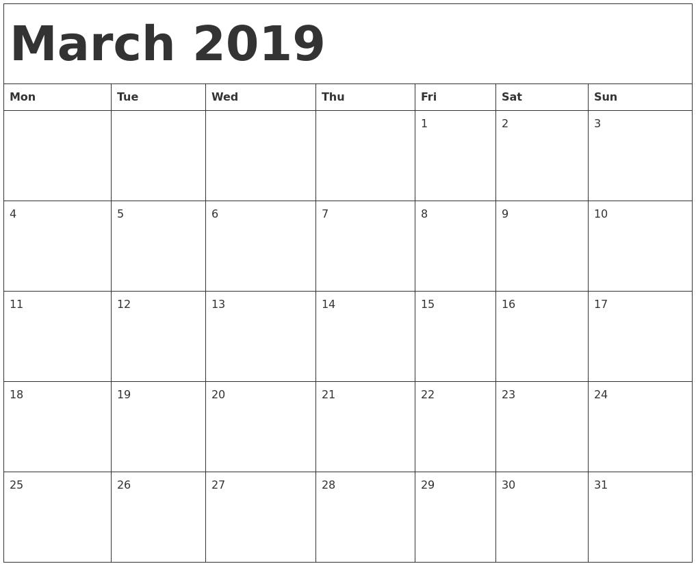 Printable Calendar Edit Online | Printable Calendar 2019