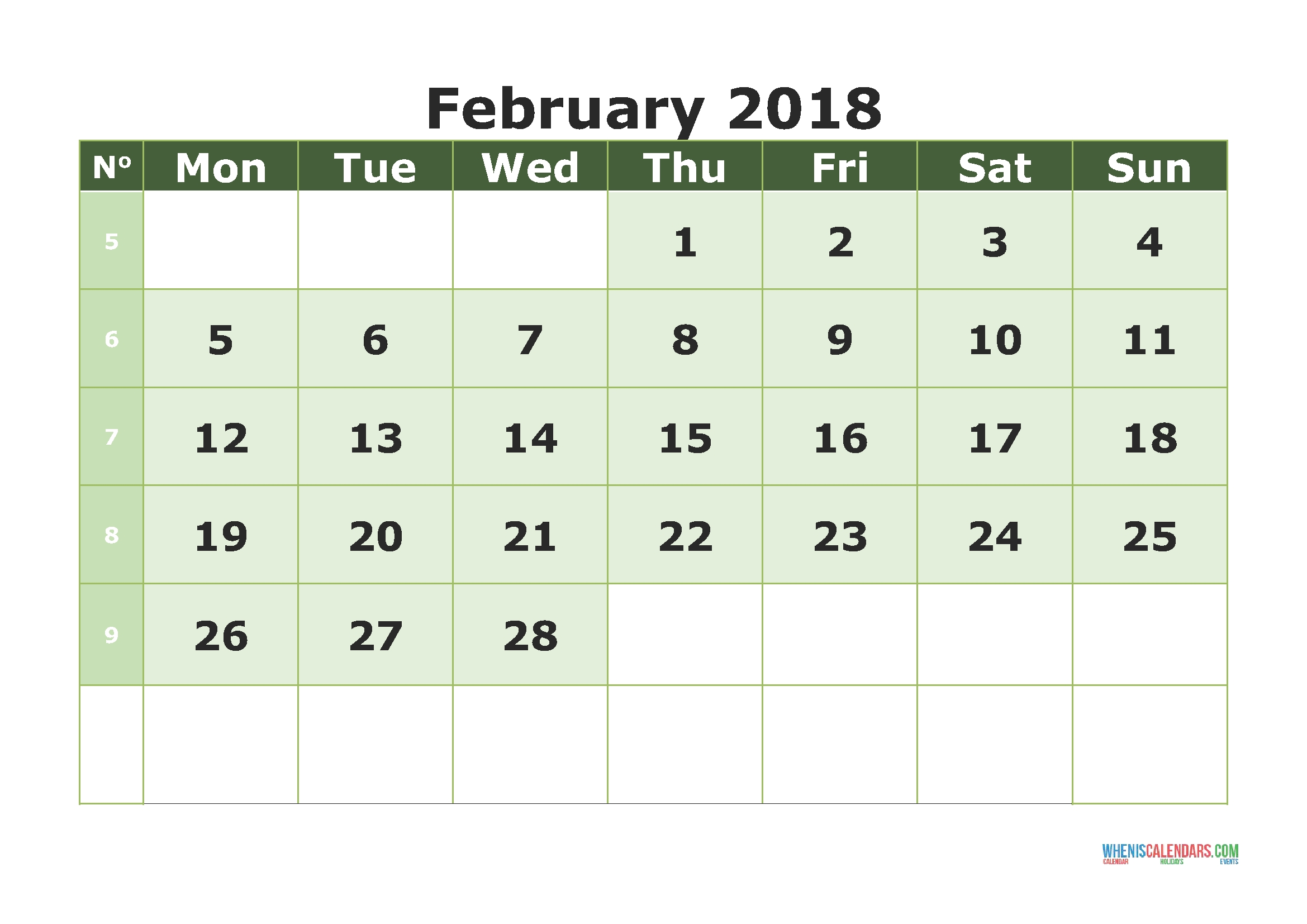 Printable Calendar February 2018 With Week Numbers (Monday