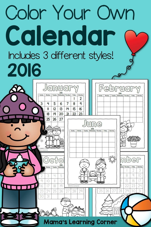 Printable Calendar For Kids 2016 - Mamas Learning Corner