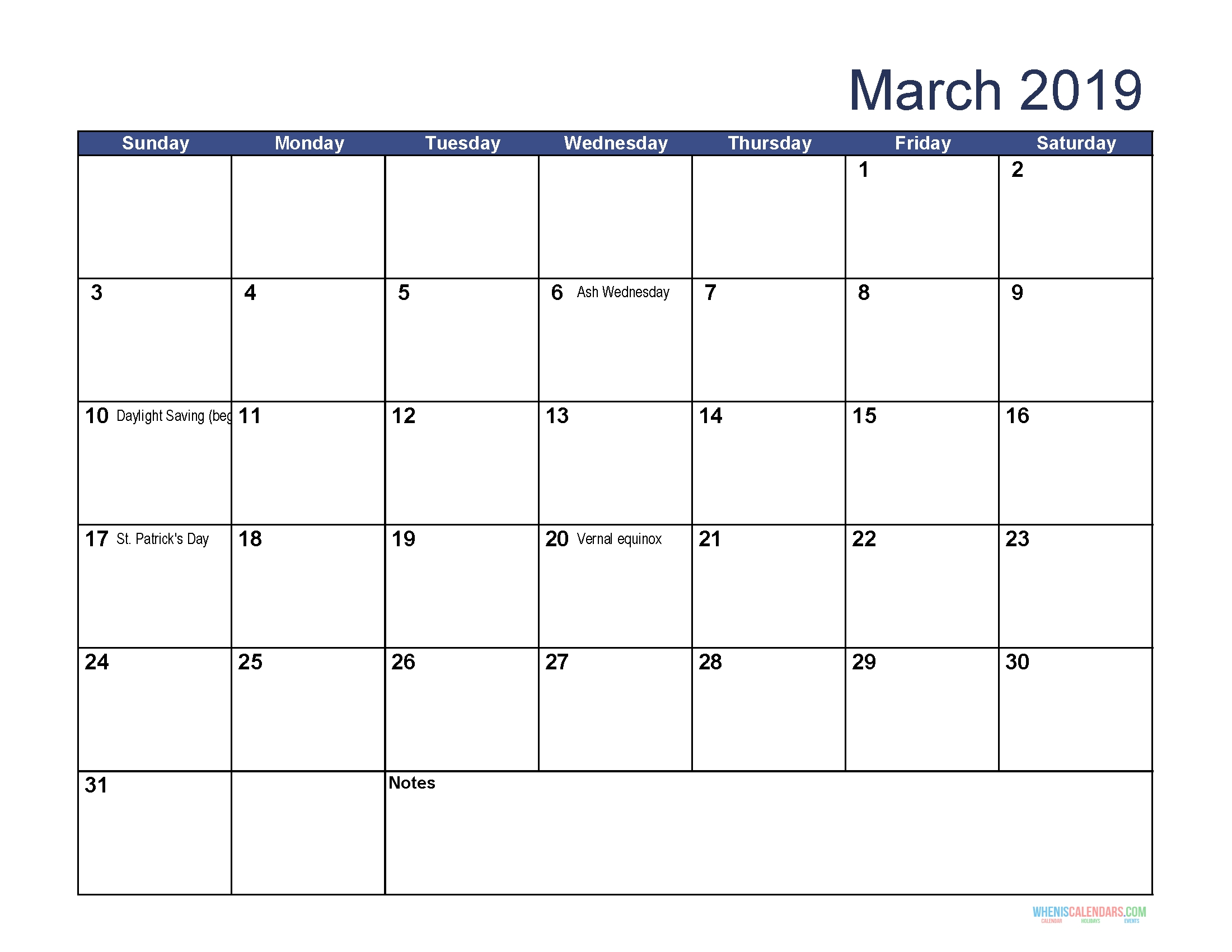 Printable Calendar For March 2019 Word | Monthly Calendar