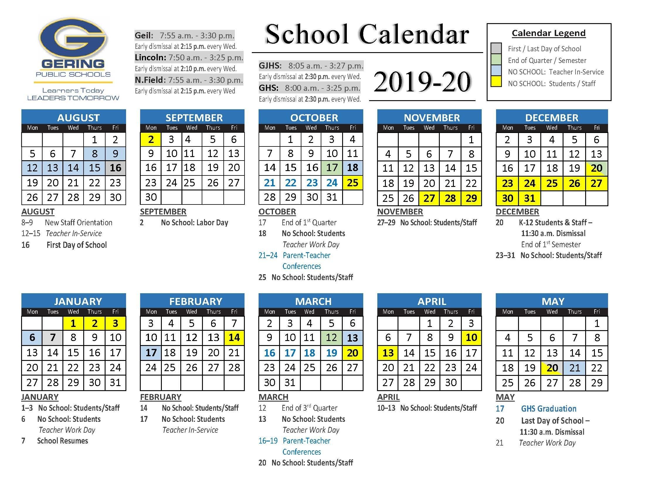 Printable Calendar - Gering Public Schools