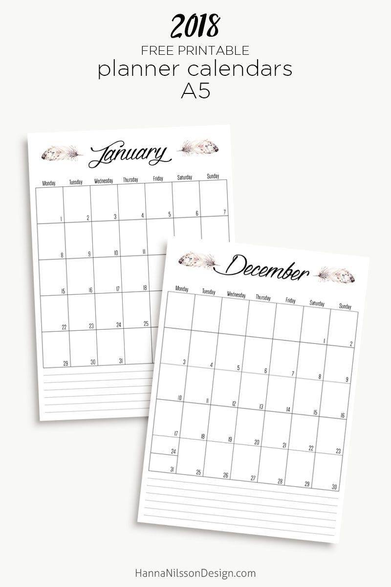Printable Calendar Inserts 2018 | Printable Calendar 2020