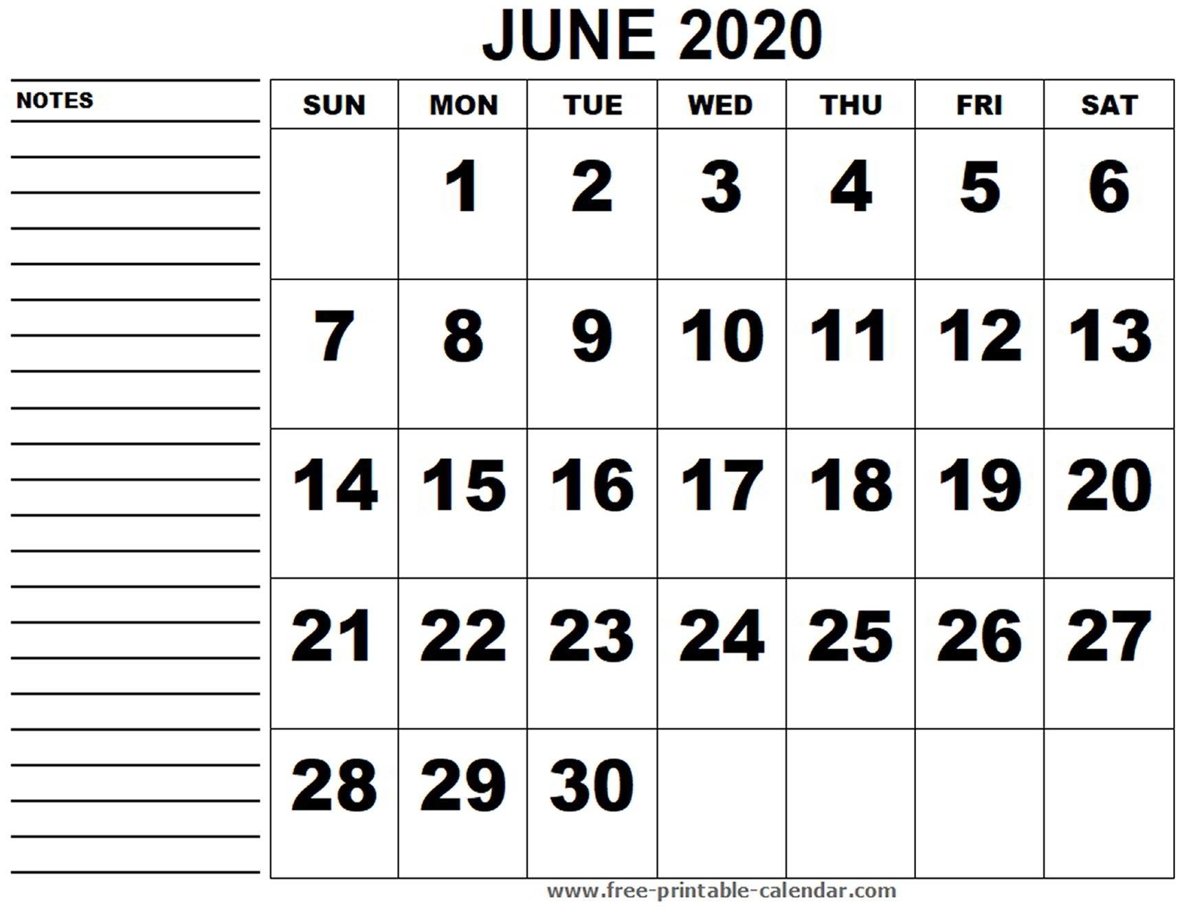 Printable Calendar June 2020 - Free-Printable-Calendar
