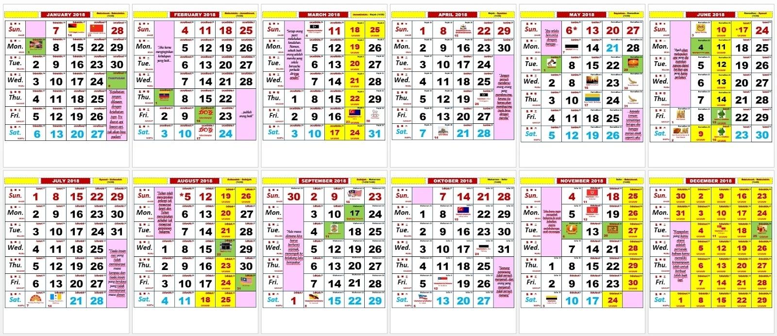 Printable Calendar Kuda 2018 | Printable Calendar 2020