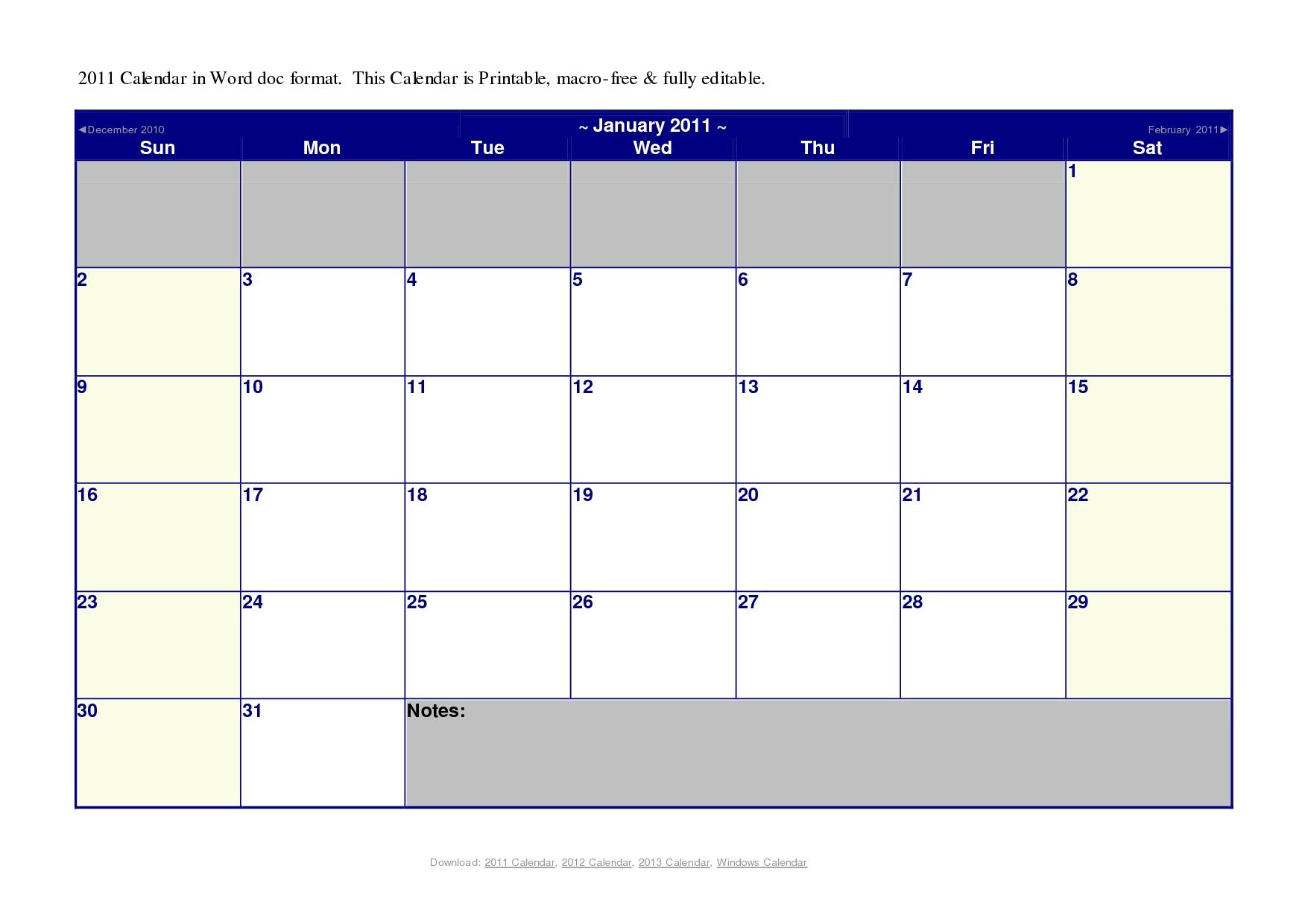 Printable Calendar Microsoft Word | Printable Calendar 2019