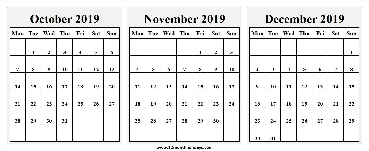 Printable Calendar October To December 2019 | Editable Blank