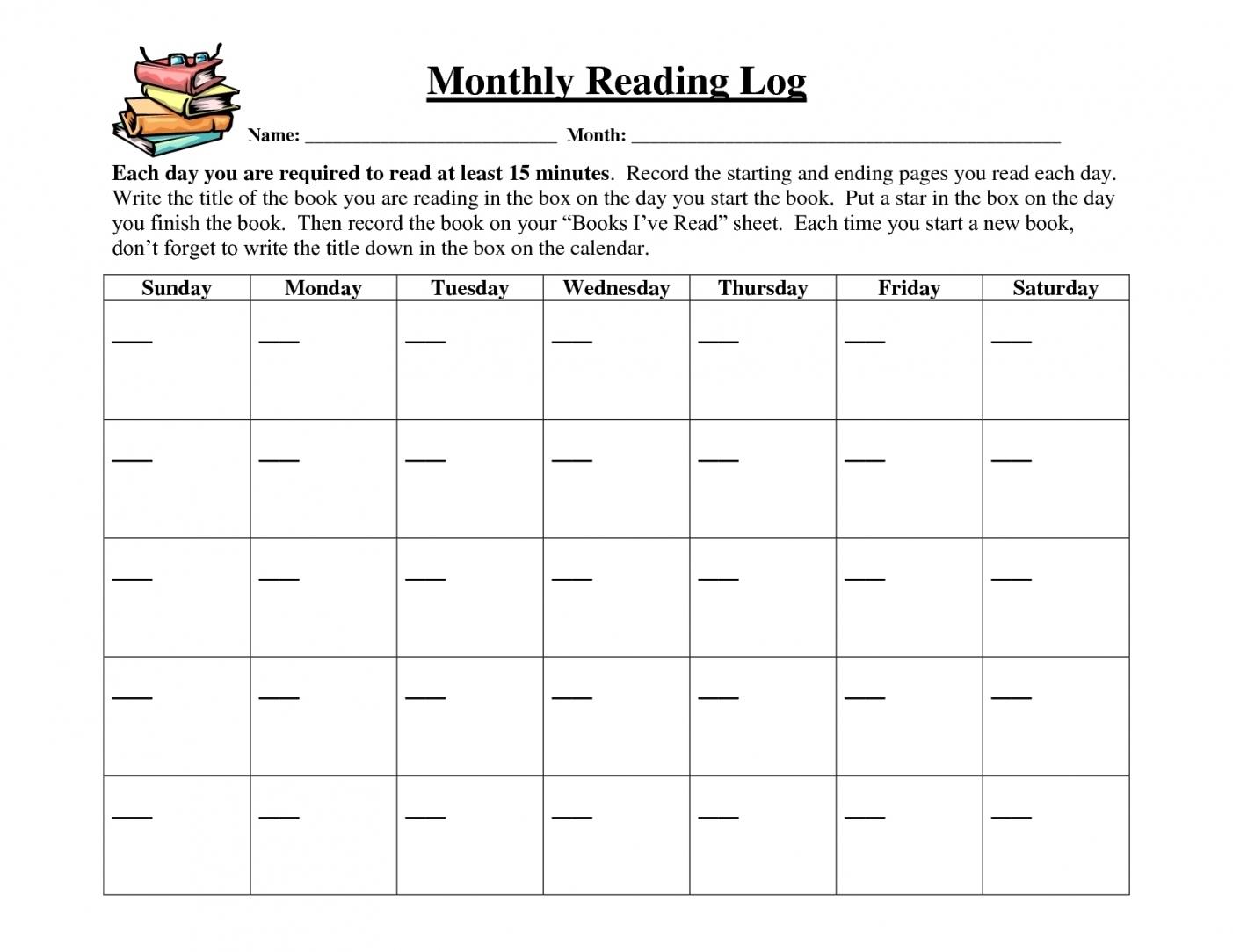 Printable Calendar Reading Logs | Printable Calendar 2020