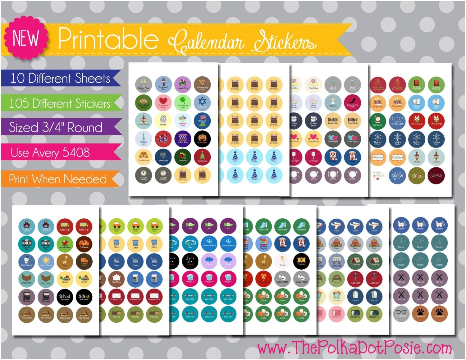 Printable Calendar Reminder Stickers To Download Or Print